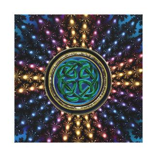 Keltischer reicher leuchtender FraktalMandala Gespannte Galeriedrucke