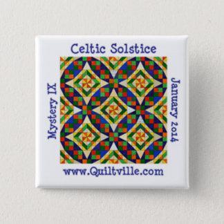 Keltischer Sonnenwende-Knopf Quadratischer Button 5,1 Cm