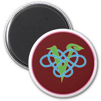 Keltischer veganer Polyamory Kreis Runder Magnet 5,7 Cm