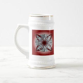 Keltisches Knoten-Gekritzel-Kastanienbraun-Rot Bierglas