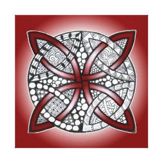 Keltisches Knoten-Gekritzel-Kastanienbraun-Rot Leinwanddruck