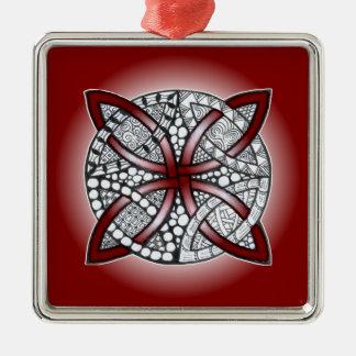 Keltisches Knoten-Gekritzel-Kastanienbraun-Rot Silbernes Ornament