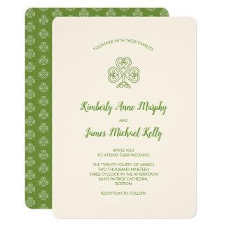 Keltisches Knoten-Kleeblatt-Hochzeits-Elfenbein Karte