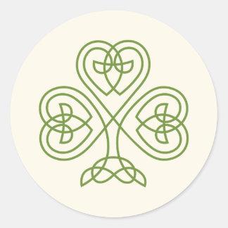 Keltisches Knoten-Kleeblatt-Hochzeits-Elfenbein Runder Aufkleber
