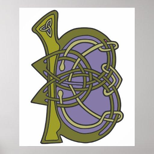 Keltisches Knotenbuchstabe-Initialenmonogramm B Plakat