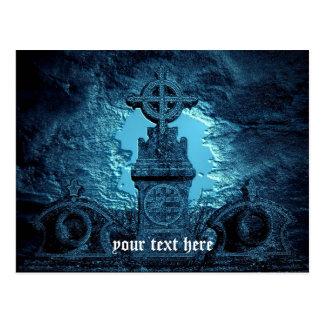 Keltisches Kreuz deckte Grabstein im Blau mit Postkarte