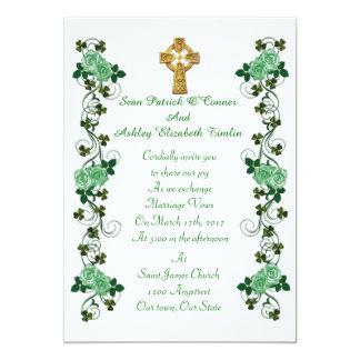 Keltisches Kreuz der irischen Hochzeitseinladung 12,7 X 17,8 Cm Einladungskarte
