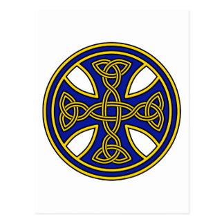 Keltisches Kreuz-Doppelt-Webart-Blau Postkarte