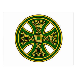 Keltisches Kreuz-Doppelt-Webart-Grün Postkarte