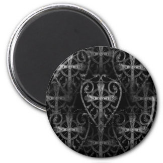 Keltisches Kreuz in der gotischen Kryptatür des He Runder Magnet 5,1 Cm