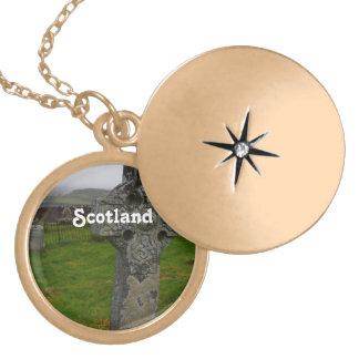 Keltisches Kreuz in Schottland Runde Medaillon Halskette