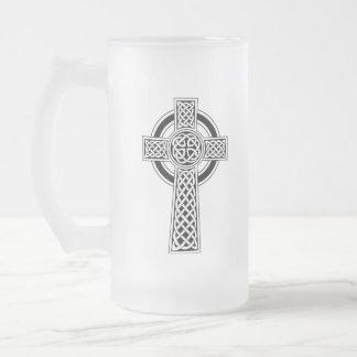 Keltisches Kreuz-mattierte GlasTasse Mattglas Bierglas