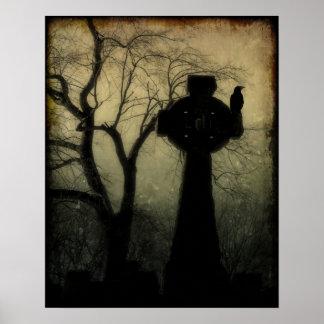 Keltisches Kreuz mit Krähe Poster
