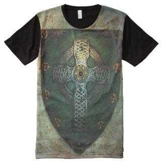 Keltisches Kreuz-Schild-T - Shirt