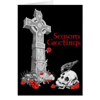 Keltisches Kreuz und Raben-Weihnachtskarte Grußkarte