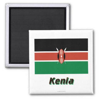 Kenia Flagge MIT Namen Quadratischer Magnet