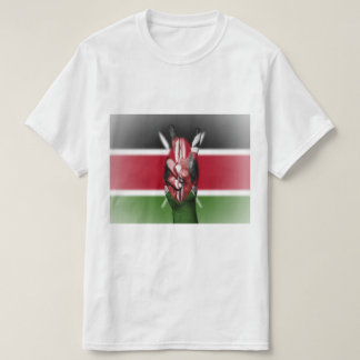 Kenia-Flaggen-Friedenszeichen - patriotisch T-Shirt