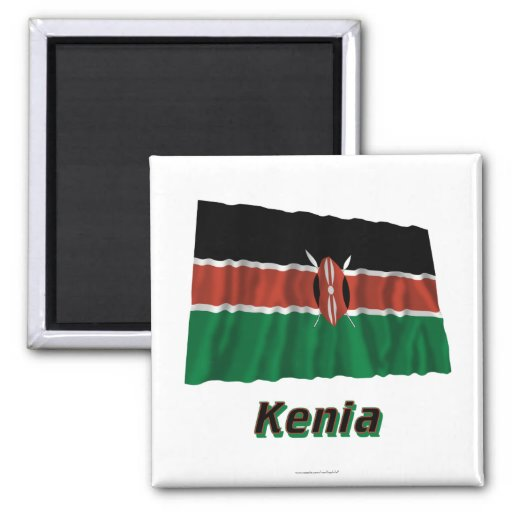 Kenia Fliegende Flagge MIT Namen Kühlschrankmagnete