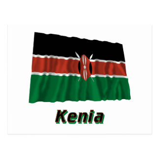 Kenia Fliegende Flagge MIT Namen Postkarte