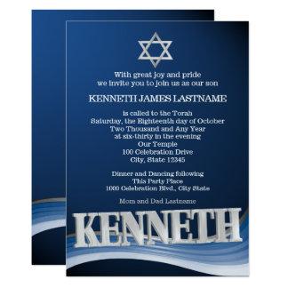 Kennethstahlwellen-Namen-Bar Mitzvah Karte