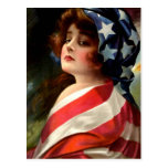 Kennzeichnen Sie Dame 4. Vintager patriotischer Ku Postkarte