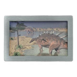 Kentrosaurusdinosaurier in der Wüste - 3D Rechteckige Gürtelschnalle