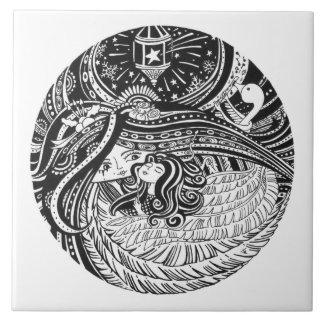 Keramik-Kunst Tile_Little Match Girl_black Engel Keramikfliese