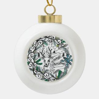 Keramik-WeihnachtenRaindeer Ball durch Sweetpieart Keramik Kugel-Ornament