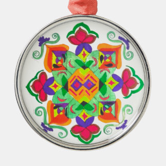 Keramikverzierung Rundes Silberfarbenes Ornament
