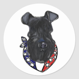 Kerry-Blau Terrier Juli 4. Runder Aufkleber