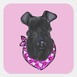 Kerry-Blau-Terrier-Valentinsgruß Quadratischer Aufkleber