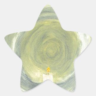 Kerze, die herauf die Nacht beleuchtet Stern-Aufkleber