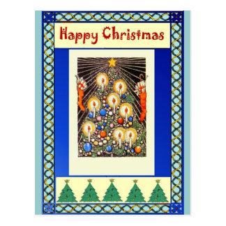 Kerzen auf einem Weihnachtsbaum Postkarten