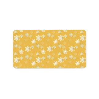 Kerzen-Glühen-gelbe und weiße Schneegestöber Adressaufkleber