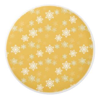 Kerzen-Glühen-gelbe und weiße Schneegestöber Keramikknauf