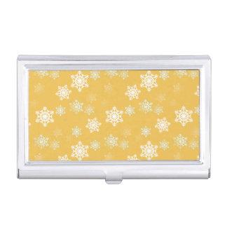 Kerzen-Glühen-gelbe und weiße Schneegestöber Visitenkarten Etui