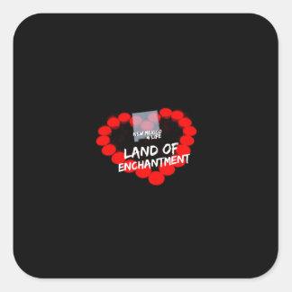 Kerzen-Herz-Entwurf für den Staat von New-Mexiko Quadratischer Aufkleber
