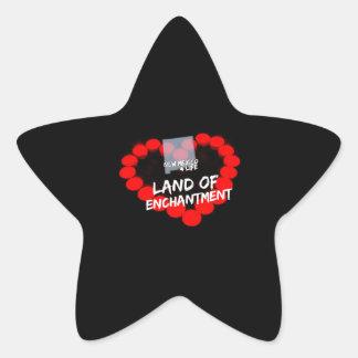 Kerzen-Herz-Entwurf für den Staat von New-Mexiko Stern-Aufkleber