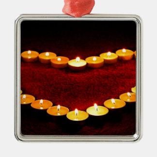 Kerzen Herz-Flammen-Liebevalentine-Romance Feuer- Silbernes Ornament