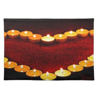 Kerzen Herz-Flammen-Liebevalentine-Romance Feuer- Tischset