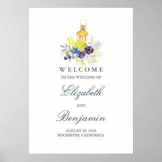 Kerzen-Lit-Laternen-Hochzeits-Willkommensschild Poster