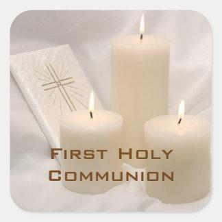 Kerzen und Gebets-Buch-erste heilige Kommunion Quadratsticker