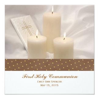 Kerzen und Gebets-Buch-erste heilige Kommunion Quadratische 13,3 Cm Einladungskarte
