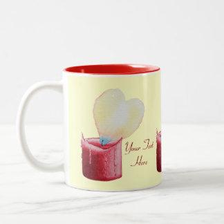 Kerzenkunst der geformten Flamme des Herzens rote Zweifarbige Tasse