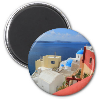 Kessel, Oia, Santorini, Griechenland Runder Magnet 5,1 Cm