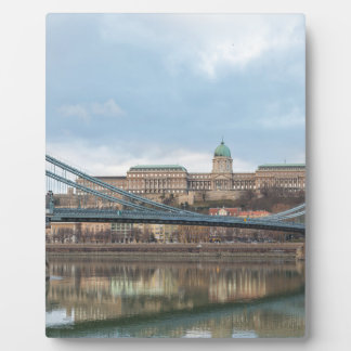 Kettenbrücke mit Buda Schloss Ungarn Budapest Fotoplatte