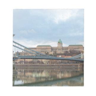 Kettenbrücke mit Buda Schloss Ungarn Budapest Notizblock