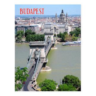 Kettenbrücke über Fluss Donau, Budapest, Ungarn Postkarte