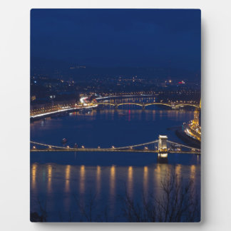 Kettenbrücke Ungarn Budapest nachts Fotoplatte