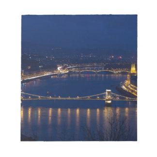 Kettenbrücke Ungarn Budapest nachts Notizblock